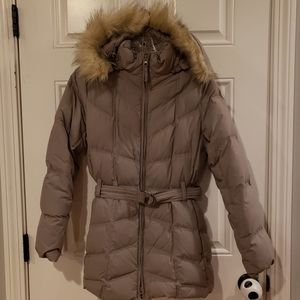 L.L.Bean fur hooded jacket with belt,size XS